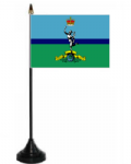 Royal Signals Corps Desk / Table Flag with plastic stand and base.